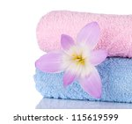 Pink and blue towels and flower. Closeup - stock photo