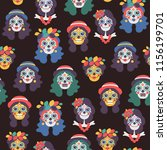 seamless vector pattern with... | Shutterstock .eps vector #1156199701