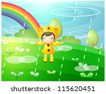 girl with arms open standing in ... | Shutterstock . vector #115620451