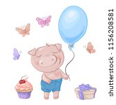 cartoon cute pig with a bow in... | Shutterstock .eps vector #1156208581