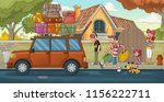 cartoon family in front of a... | Shutterstock .eps vector #1156222711
