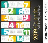 2019 new desk calendar monthly... | Shutterstock .eps vector #1156222714