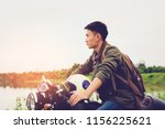 biker man and motorcycle with... | Shutterstock . vector #1156225621