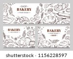 vintage bakery banners with... | Shutterstock .eps vector #1156228597