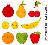 Set Of Cute Smiling Fruits....