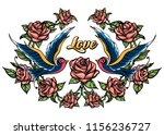 two birds and roses with... | Shutterstock .eps vector #1156236727