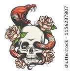 colorful tattoo design with... | Shutterstock .eps vector #1156237807