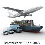 3d rendering of a flying plane  ... | Shutterstock . vector #115623829