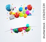 color glossy happy birthday... | Shutterstock . vector #1156241134