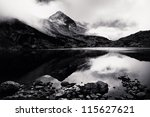 black and white Rila landscape - stock photo