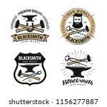 forge  blacksmith logo or label.... | Shutterstock .eps vector #1156277887