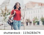 straight haired young beautiful ... | Shutterstock . vector #1156283674