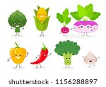set of various cartoon happy... | Shutterstock .eps vector #1156288897
