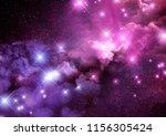 pink and purple galaxy nebula... | Shutterstock . vector #1156305424