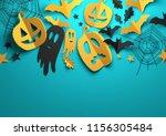 folded paper art origami.... | Shutterstock . vector #1156305484