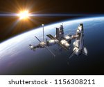 space shuttle and space station ... | Shutterstock . vector #1156308211
