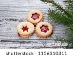 traditional christmas linzer... | Shutterstock . vector #1156310311