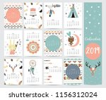 chic monthly calendar 2019 with ... | Shutterstock .eps vector #1156312024