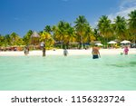 playa norte a popular beach and ... | Shutterstock . vector #1156323724