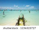 playa norte a popular beach and ... | Shutterstock . vector #1156323727