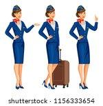 stewardess in blue uniform.... | Shutterstock .eps vector #1156333654