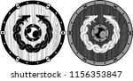 viking wooden dragon shield | Shutterstock .eps vector #1156353847