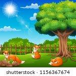 three fox cartoon on nature... | Shutterstock .eps vector #1156367674