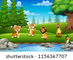 animals are enjoying nature by... | Shutterstock .eps vector #1156367707