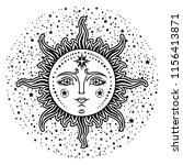 vintage hand drawn sun. retro... | Shutterstock .eps vector #1156413871