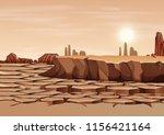 a dry land landscape... | Shutterstock .eps vector #1156421164