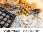 calculator with currency glass... | Shutterstock . vector #1156430704