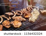 barbecue  fry steaks  meat ribs ... | Shutterstock . vector #1156432324