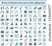 100 business icons  human... | Shutterstock .eps vector #115643377