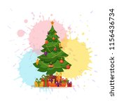 christmas tree decorated vector ... | Shutterstock .eps vector #1156436734