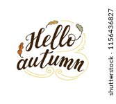 hello autumn.  isolated hand... | Shutterstock .eps vector #1156436827