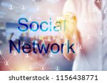 social network concept with... | Shutterstock . vector #1156438771