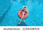 woman asian bikini swimming... | Shutterstock . vector #1156438924