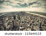 panoramic view over manhattan ...   Shutterstock . vector #115644115