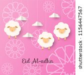 eid al adha text with sheep... | Shutterstock .eps vector #1156447567