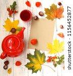 autumn cozy tea drinking.red... | Shutterstock . vector #1156452877