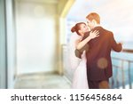 happy just married young couple ... | Shutterstock . vector #1156456864