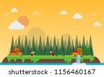 vietnamese plant a field rice... | Shutterstock .eps vector #1156460167