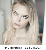 face of a beautiful blonde with