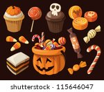 set of colorful halloween... | Shutterstock .eps vector #115646047