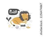 funny lying lion with doodle... | Shutterstock .eps vector #1156474867