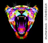 Angry Colorful Lion On Pop Art...