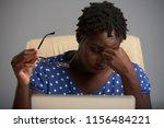 exhausted black businesswoman...   Shutterstock . vector #1156484221
