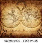 vintage map of the world 1733 | Shutterstock . vector #115649035