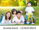 asian family enjoyed outdoor...   Shutterstock . vector #1156515814