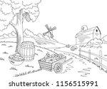 farm autumn graphic black white ... | Shutterstock .eps vector #1156515991